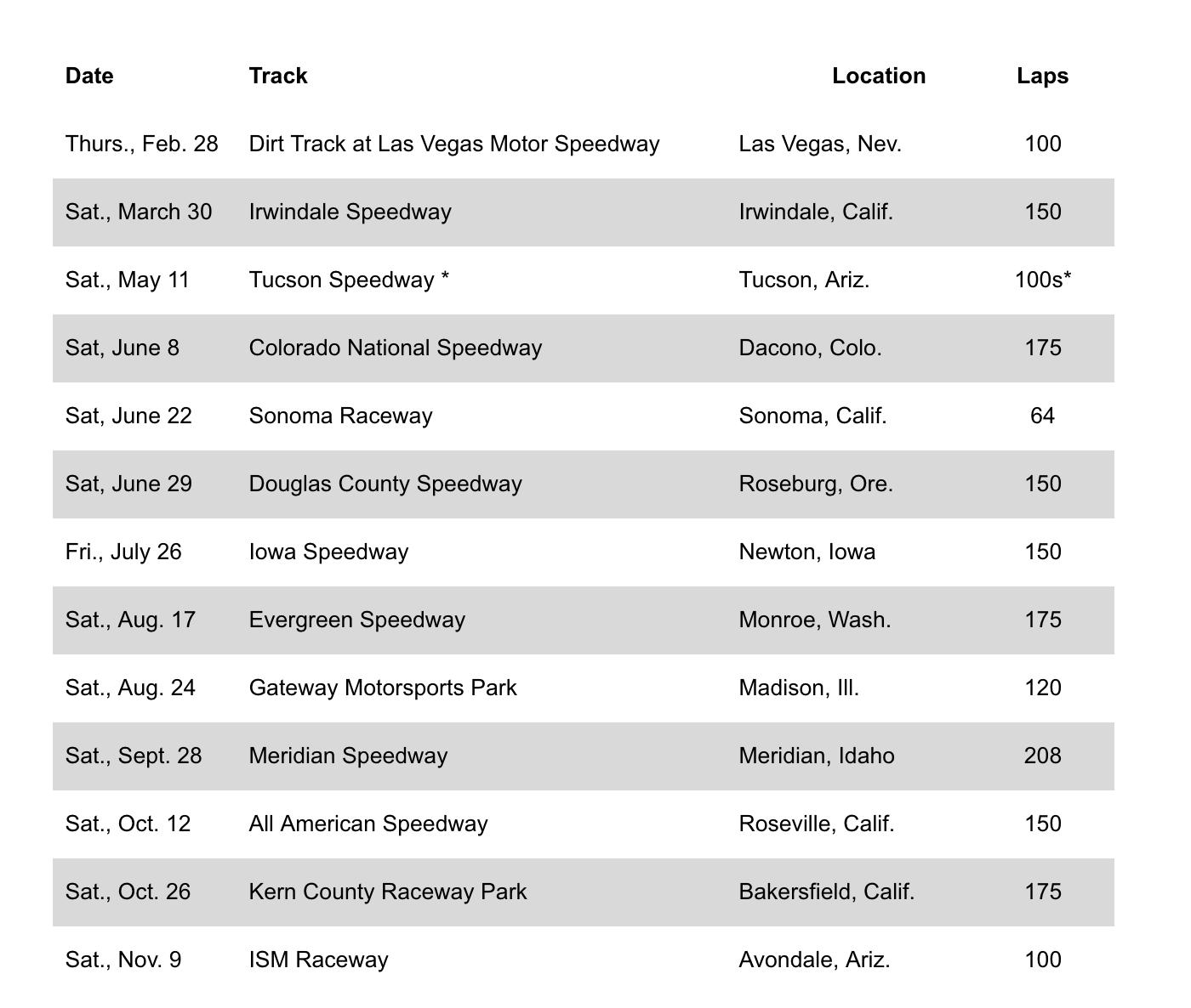 2019 K&N Pro Series West Schedule